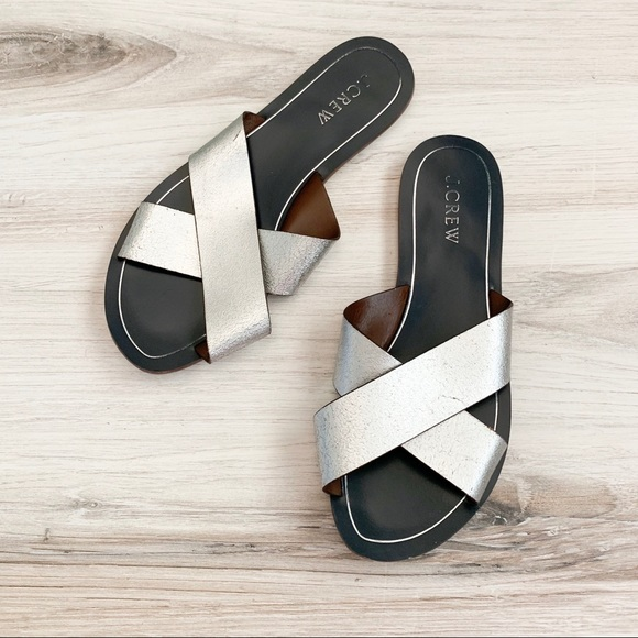 J. Crew Shoes - J. Crew Criss Cross Metallic Silver Sandals